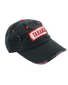 Distressed Text Logo Cap Black