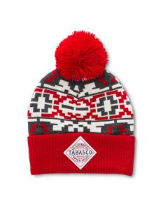 TABASCO® Diamond Logo Red & Grey Pom Pom Beanie