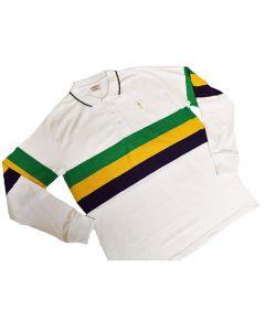 TABASCO® Mardi Gras Tri-Striped White Long Sleeve Shirt